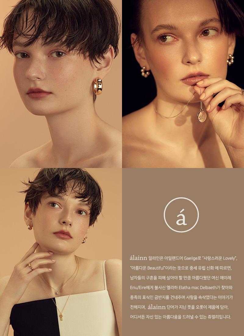 알라인(ALAINN) square button pendant necklace